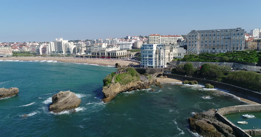 Biarritz, April 08 2017, Biarritz is a city on the Bay of Biscay, on the Atlantic coast in the Pyrénées-Atlantiques department of Aquitaine region. 4K, UHD movie (4096X2160), 50 fps