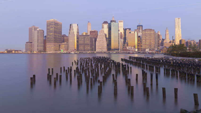 Dawn to dusk view of the skyscrapers of Manhattan from the Brooklyn Heights neighborhood | Shutterstock HD Video #2612825