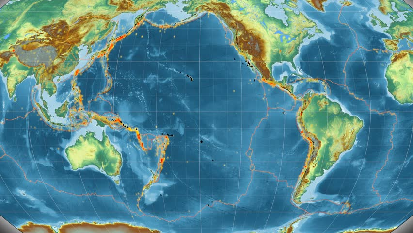 Pacific Tectonic Plate Featured Animated Stock Footage Video 100