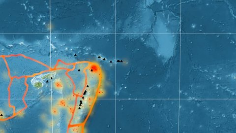 Balmoral Reef tectonic plate featured & animated against the global topographic map in the Mollweide projection. Tectonic plates borders (Peter Bird's division), earthquakes, volcanoes