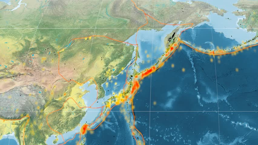 Okhotsk Tectonic Plate Featured Animated Against The Global - Global topographic map