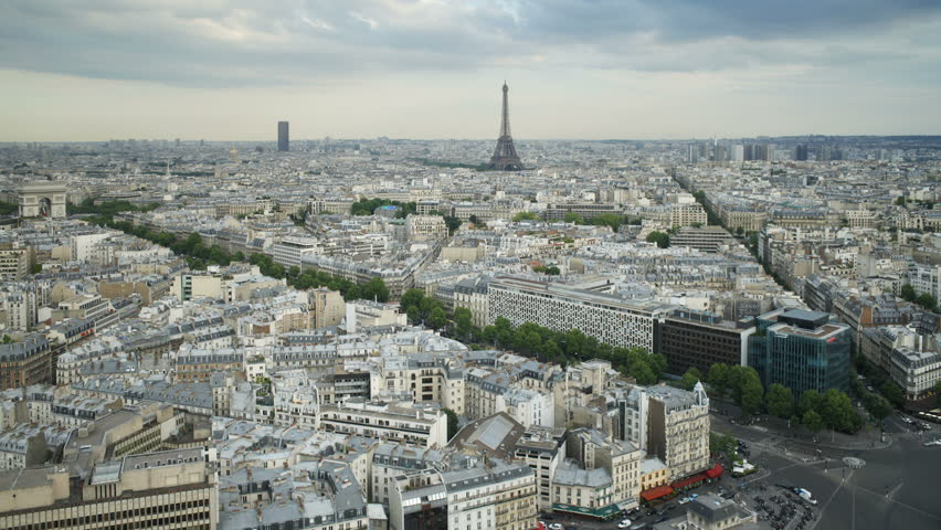 Aerial view of the City of Paris with the Eiffel Tower in the distance | Shutterstock HD Video #2614409