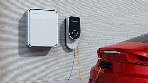 Red car charging in home EV charging station. Power supply by roof mounted solar panels. 3D rendering animation.