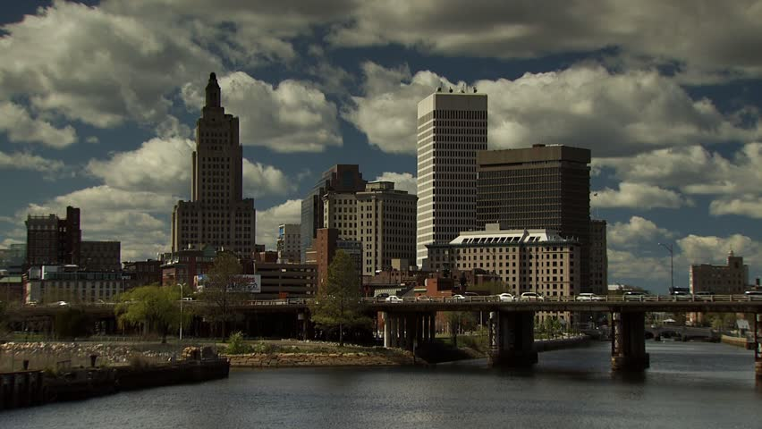 Providence Rhode Island skyline and river with blue sky and nice clouds
