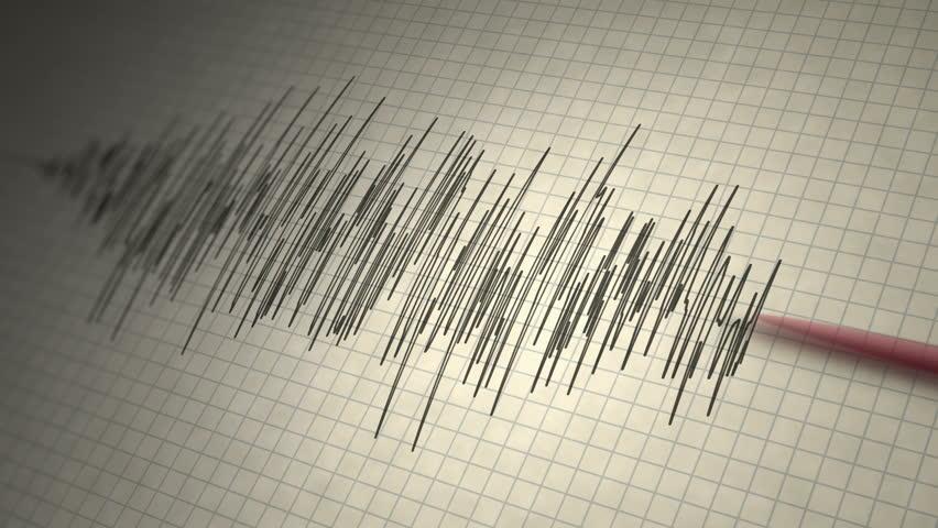 Earthquake Seismograph Loop - Animated seismograph records earthquake tremors. Seamlessly loopable.