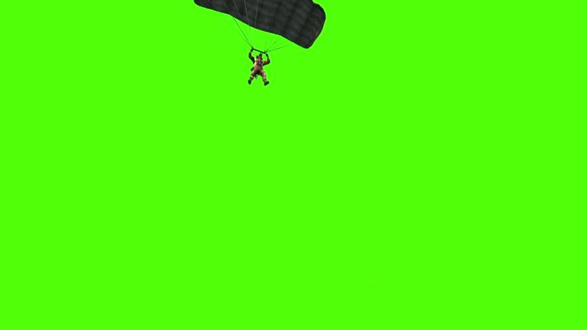 Military Parachutist open Parachute Down Green Screen 3D Rendering Animation
