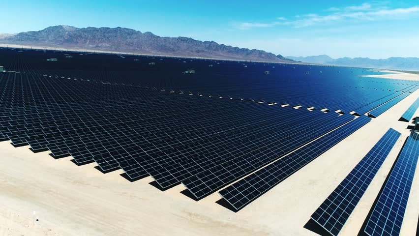 Solar Panels, Alternative energy / One of the biggest Solar Farms in the World / Aerial, Drone Shot (Slow motion) | Shutterstock HD Video #26185055