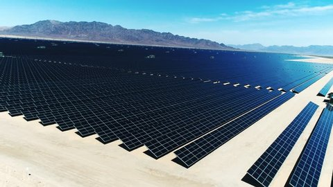 Solar Panels, Alternative energy / One of the biggest Solar Farms in the World / Aerial, Drone Shot (Slow motion)