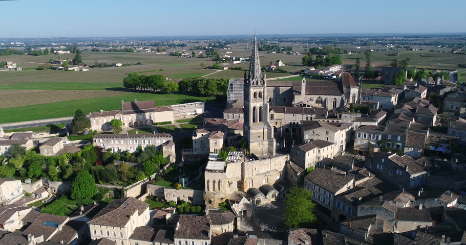 Aerial view of Saint-Emilion, one of the main red wine production areas of Bordeaux region. 4k, UHD (4096X2160)