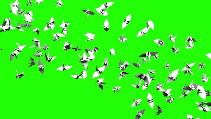 Origami Crane On Green Chroma Key Loop Able 3dcg Render Animation