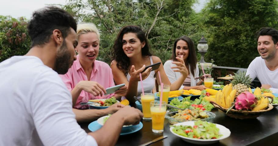 People Eat Healthy Vegetarian Food Stok Video 100 Telifsiz