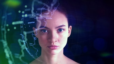 Global Analytics, Market Analysis, and Forecast in Augmented Reality. Pretty Specialist doing Global Analytics. Young Woman with a Digital Laser Hologram.