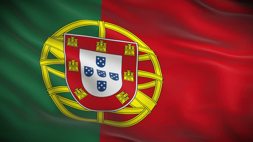 Highly detailed Portuguese flag ripples in the wind. Looped 3d animation for continuous playback.