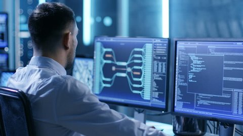 In the System Control Center Team of Technicians Monitor System Stability. Possible Air Traffic/ Power Plant/ Security Room Theme.  Shot on RED EPIC-W 8K Helium Cinema Camera.