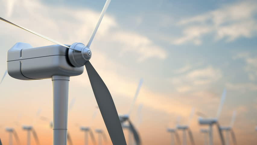 Wind energy turbines are one of the cleanest, renewable electric energy source. Electricity is generated by electric generators hidden inside turbine   Shutterstock HD Video #26273135