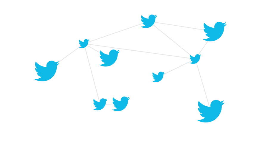HALLE, GERMANY - APRIL 27, 2017: An artists concept of the fluid inter-connectivity of the Twitter News and Social Networking service where users communicate with each other via tweets.