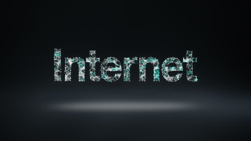 Numerous dots gather to create a 'Internet' typo, cloud computing concept, low-polygon web.