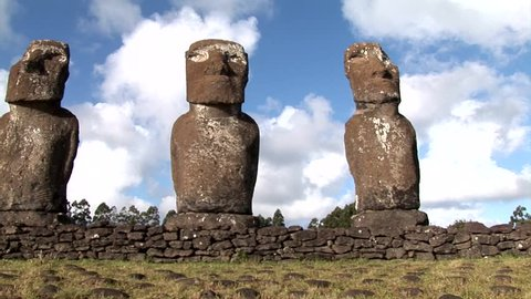 The giant sculptures Rapa Nui of the Easter Island, called Moai. The 887 human figures carved from rock between 1250 and 1500 CE and transported throughout the Island.