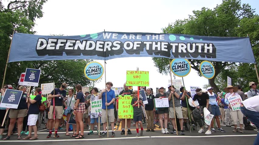 WASHINGTON, DC: April 29, 2017: Protesters gather to march against climate change in the People's Climate March.