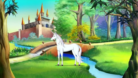White Unicorn Walking near a Fairy Tale Castle in a Summer Day. Handmade animation, motion graphic.