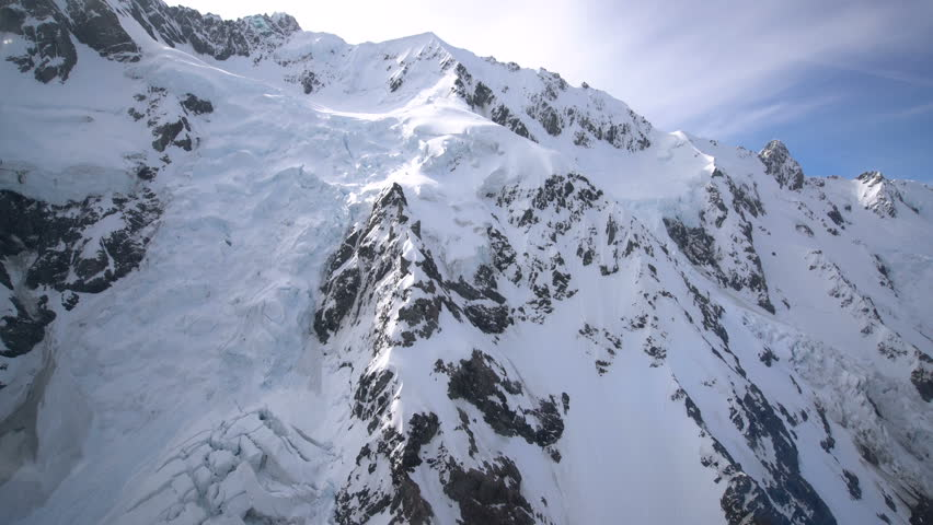 Snow capped peak in Mt Cook National Park, New Zealand from aerial view, helicopeter windows. #26366585