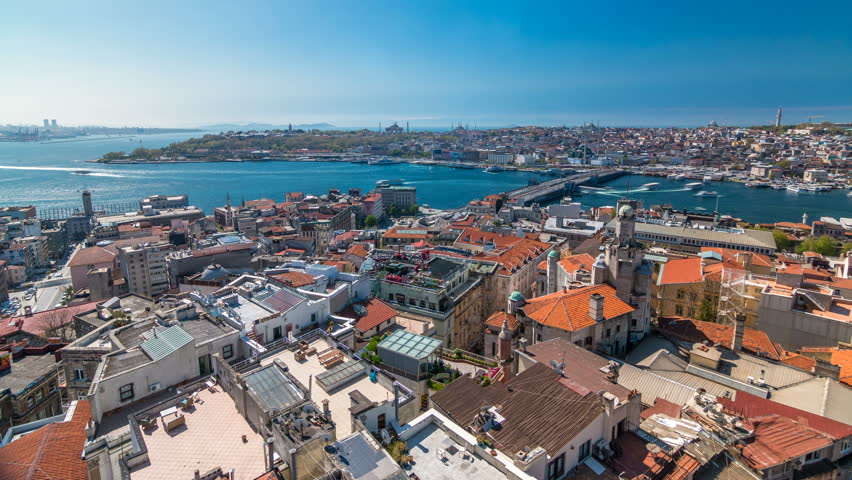 The view from Galata Tower to Galata Bridge timelapse which is connected Beyoglu region and Sultanahmet on the opposite shores of Golden Horn, Istanbul, Turkey. Ferries traffic at sunny spring day