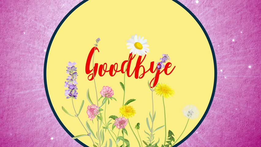 Goodbye text background over a pink floral backdrop. Great for Mothers Day! - HD stock footage clip