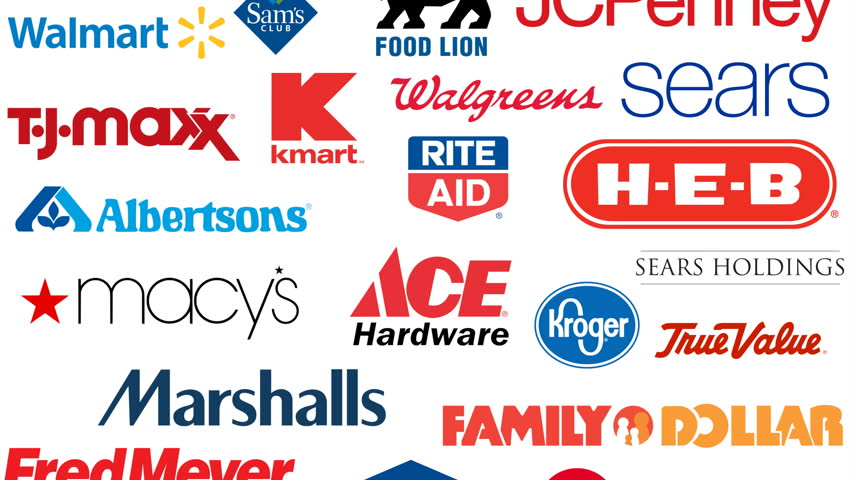 Editorial animation: major American retail companies in 2017. Editorial use only. 3D rendering, bottom to top variant, 4k UHD.