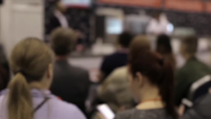 Blurred Conference, People at The Exhibition Listen to the Speaker | Shutterstock HD Video #26389193