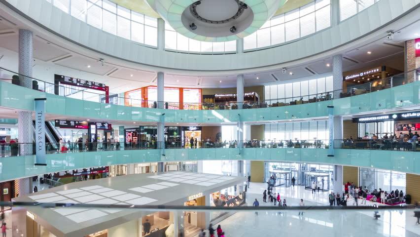 Sunny day dubai mall indoor center hall panorama 4k time lapse uae | Shutterstock HD Video #26398994
