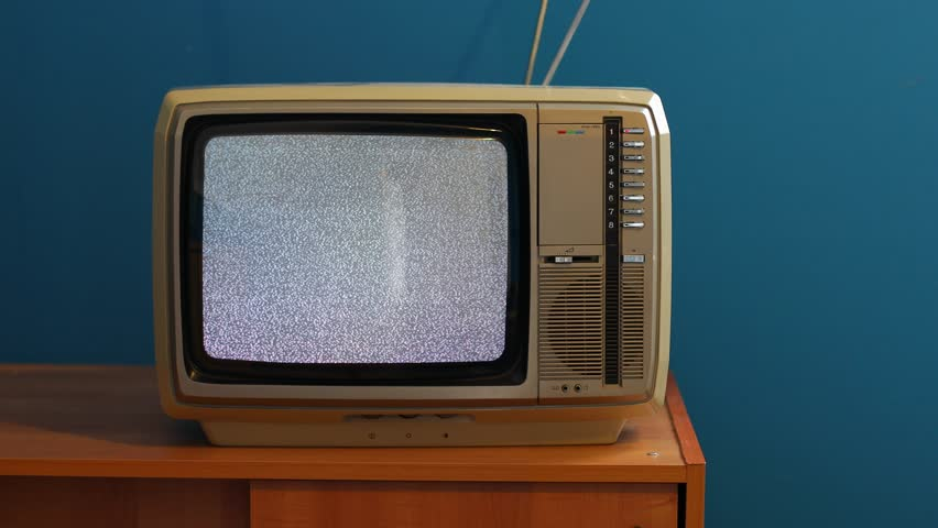 White noise on analogue TV set in room