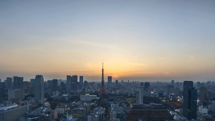 4k time lapse of night to day sunrise scene at Tokyo city skyline with Tokyo Tower. Tilt down | Shutterstock HD Video #26419388