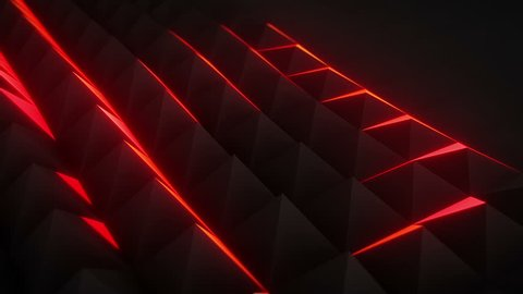 CGI animation of 3D polygonal surface of triangles moving in abstract motion and lighting up with red color in dark digital space