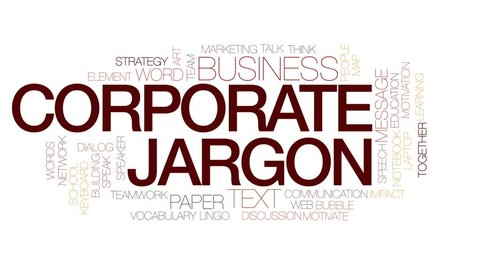 Corporate jargon animated word cloud, text design animation. Kinetic typography.