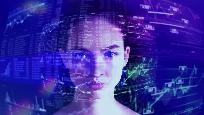 Business or Big Data Analytics in Augmented Reality. Pretty Specialist doing Business Analytics. Young Woman with a Digital Laser Hologram.