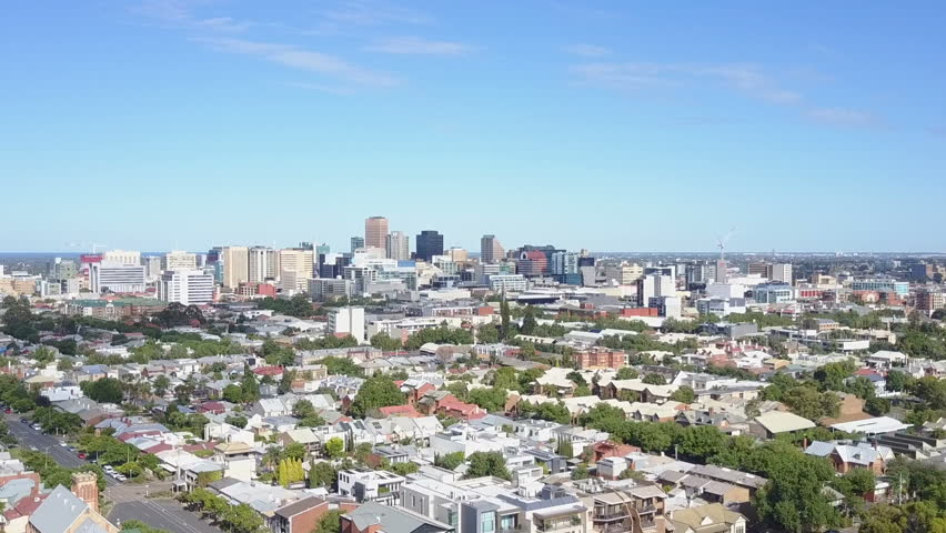 Aerial video of downtown Adelaide in Australia