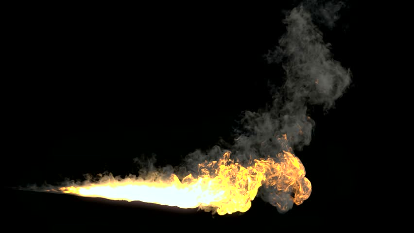 Animated realistic stream of fire like flamethrower shot or fire-breathing dragon's flames. Clip with alpha channel. 3d rendering