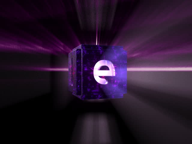 Motion graphic design of an animated cube with letters punched out and volumetric light streaming through the holes.