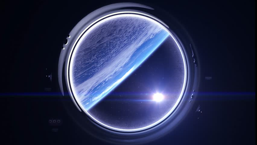 Space. Earth through the porthole window. The sun in the window of the spacecraft. The flight of the spaceship over the Earth. Realistic atmosphere. Volumetric clouds. Starry sky. 4K. Elements furnished by NASA. | Shutterstock HD Video #26555975
