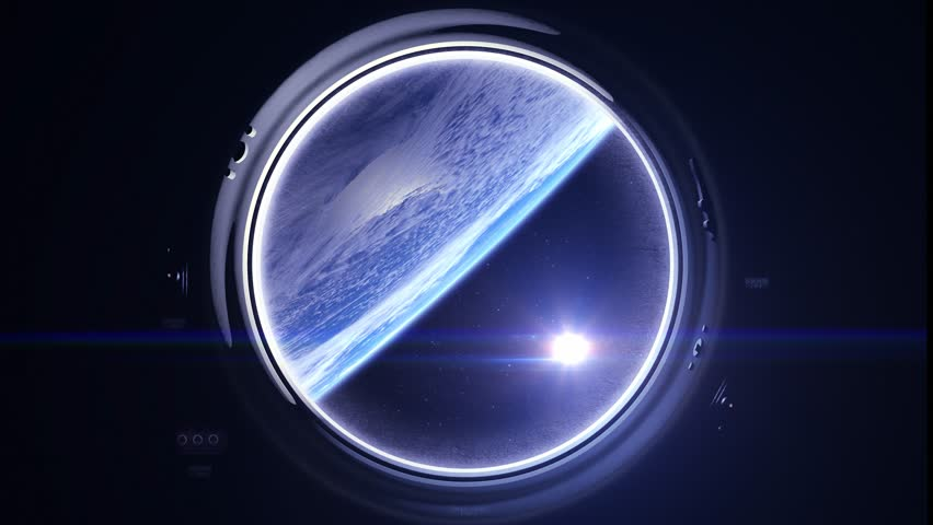 Space. Earth through the porthole window. The sun in the window of the spacecraft. The flight of the spaceship over the Earth. Realistic atmosphere. Volumetric clouds. Starry sky. 4K. | Shutterstock HD Video #26555975