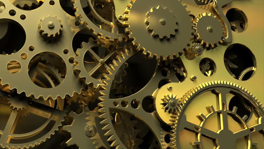 Industrial video background. Fantasy golden clockwork with gears and springs. 3d animation.