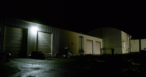 Night warehouse and bay doors
