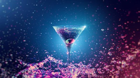 Bright cocktail with olive in glass, splashing water on dark background. The object is illuminated from two sides, blue and red color. Drops, bokeh and glare move on the frame. Slow motion 4K footage