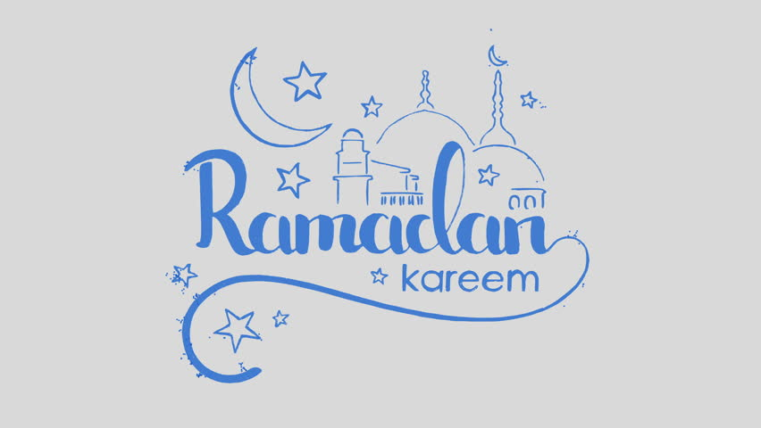 Particles forming Ramadan Kareem handwritten lettering with mosque over grey background. Beautiful creative text appearance animation