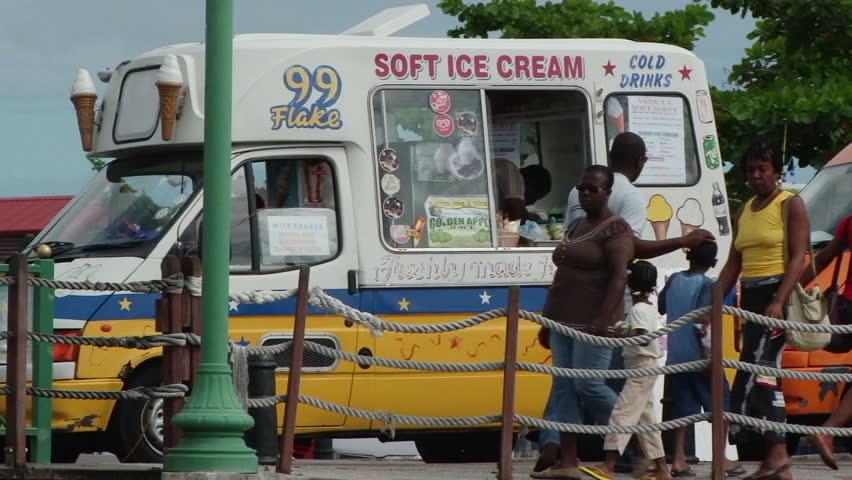 BRIDGETOWN/BARBADOS - 4th DECEMBER 2010: Ice cream van near Chamberlain bridge in Bridgetown, Barbados