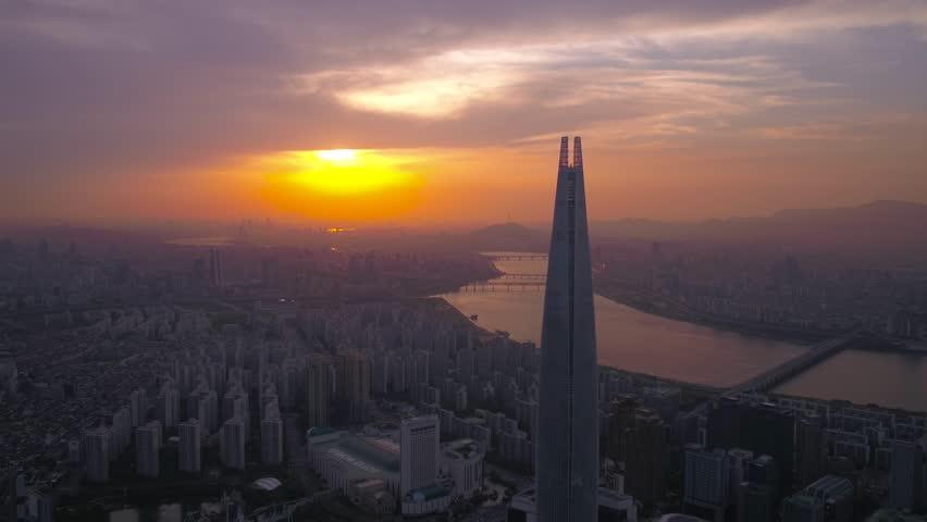 Aerial Korea Seoul April 2017 Jamsil Lotte Tower Sunset