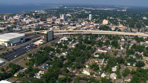 Aerial view of city of Pensacola, Florida. Shot in 2007