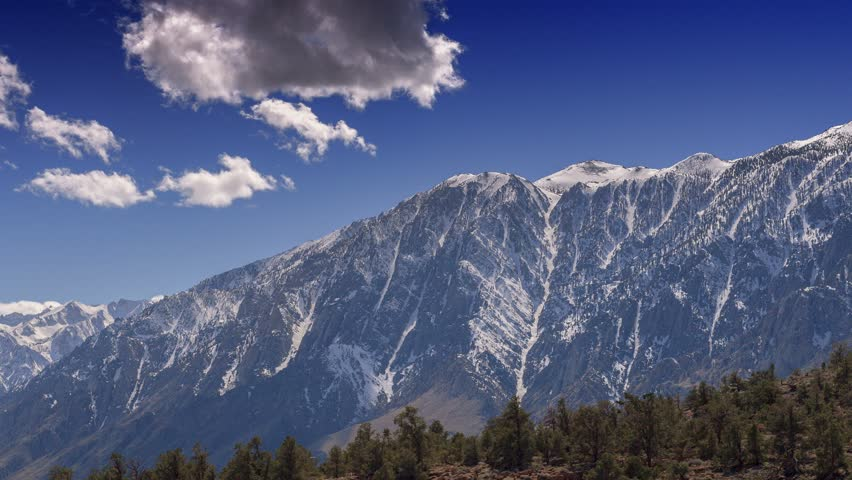 Snow Capped Sierra Nevada - Time lapse panning across the snowy high sierra nevada mountains.
