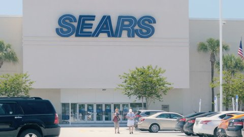 TAMPA, FL - MAY 12, 2017: Sears store building exterior open for business on May 12, 2017. Sears is the 5th largest US department store company by sales and the 12th largest retailer in the country overall.