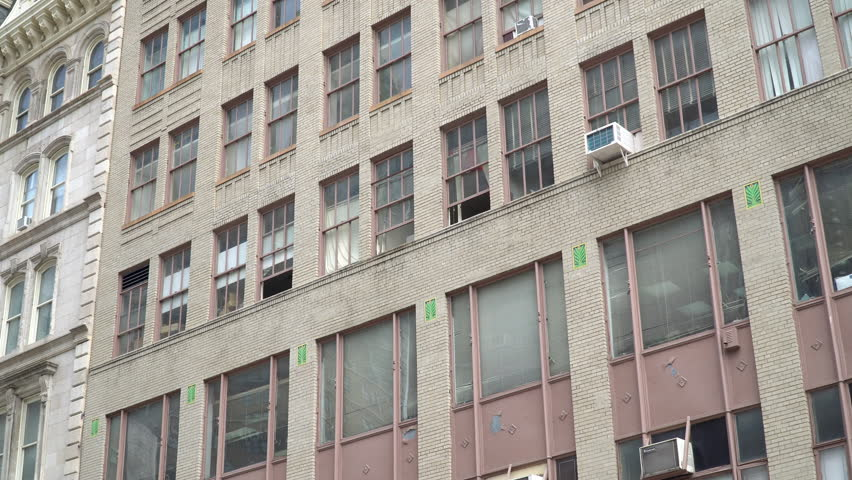 Establishing Shot Overhead Of A New York City Brick Apartment